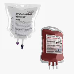 realistic iv bag blood 3D model