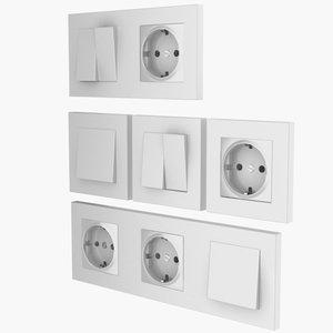 3D socket switch model