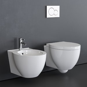 3D model wall-hung toilet short bidet