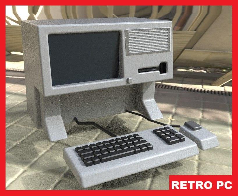 retro pc terminal apple 3D