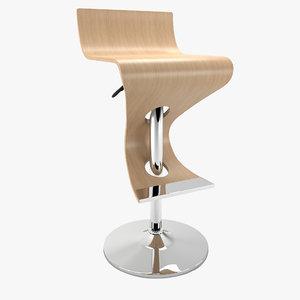 realistic bar stool 3D model