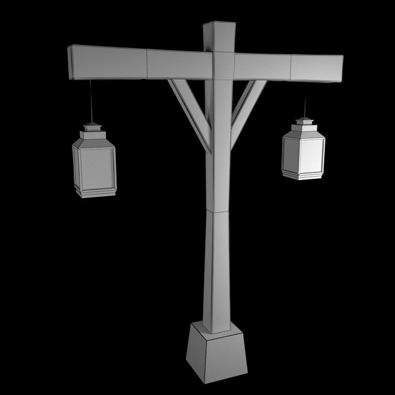 3D old street lamp model