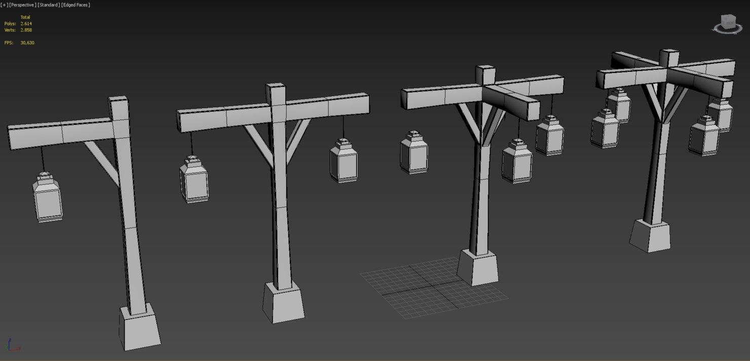 old street lamp series 3D model