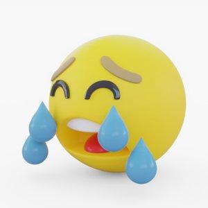 3D emoji crying model