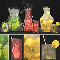 3D model beverages drinks decanters