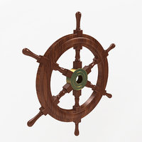 3D wooden ship wheel model