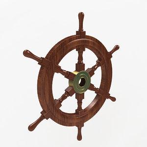 3D wooden ship wheel model