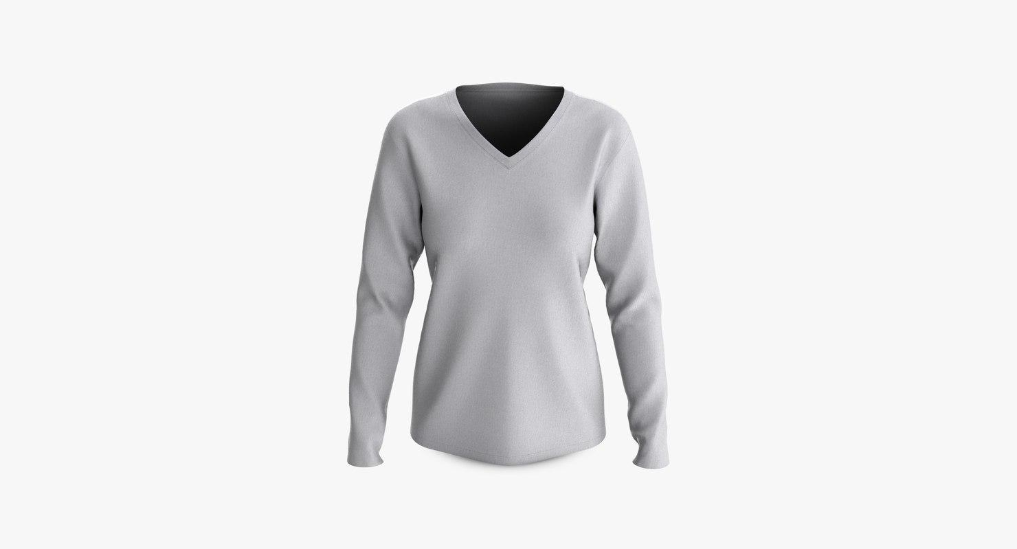 cotton female t-shirts long 3D model