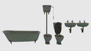 vintage victorian bathroom fixtures 3D model