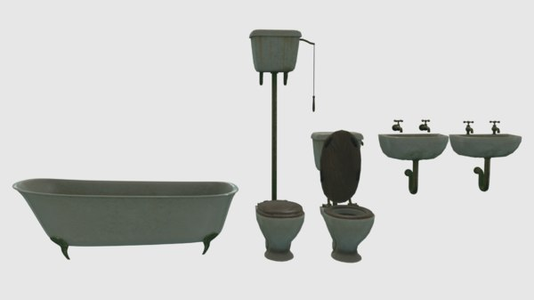 vintage victorian bathroom fixtures 3D model
