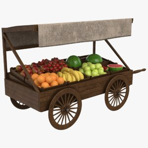 real fruit cart 3D model