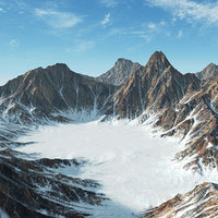 3D snow mountain range landscape