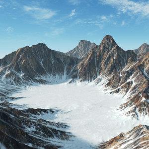 3D snow mountain range landscape