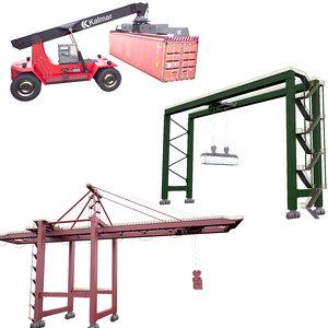 3D model port cranes stacker