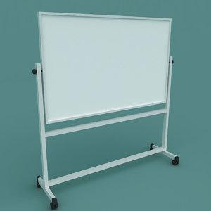 3D whiteboard stand board model