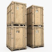 large wooden containers wood 3D