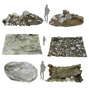 3D model riverbed rock mud tree