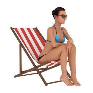 3D girl sitting beach chair