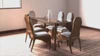 3D model dining chair table decoration
