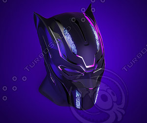 black panther helmet 3D model