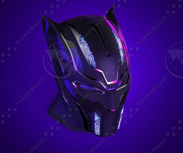 black panther helmet 3D model