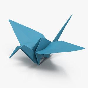 blue origami orizuru 3D