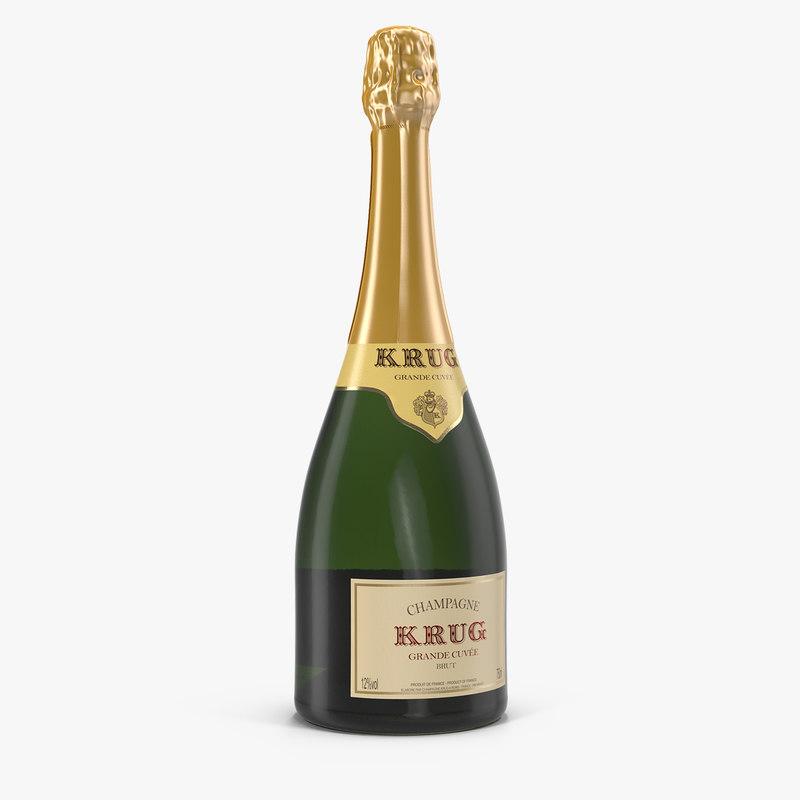 champagne bottle krug 3D model