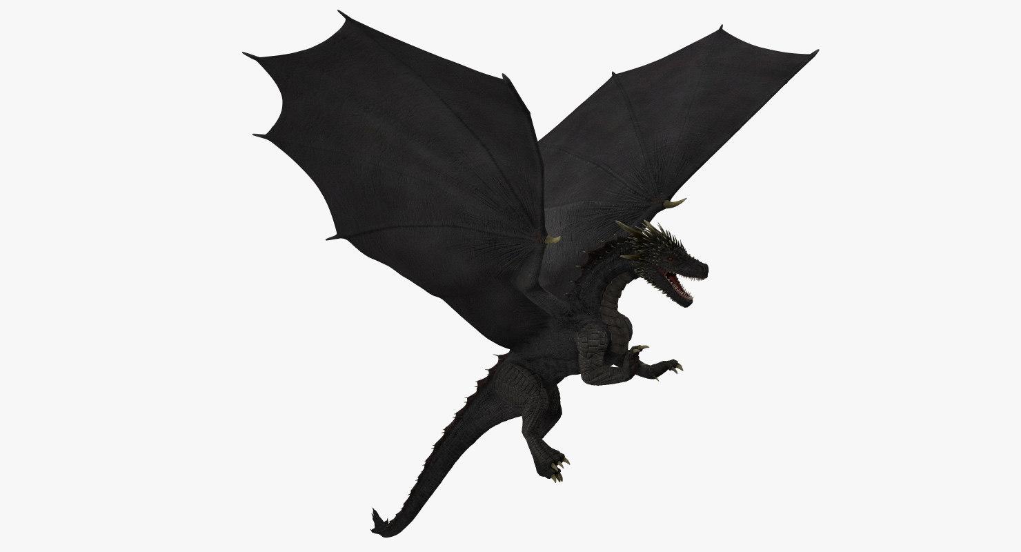 3D model black dragon flying
