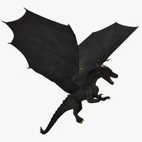 3D model black dragon flying