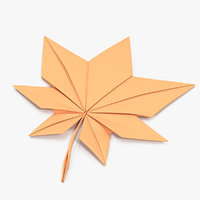 Autumn Paper Origami Maple Leaf 3D Model