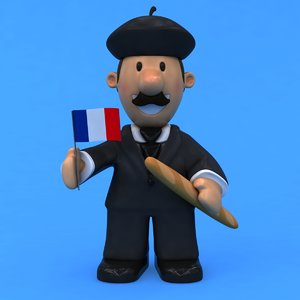 french man rigged 3D model