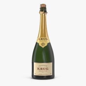 champagne bottle krug foil 3D