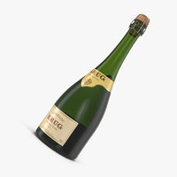 champagne bottle krug foil 3D model