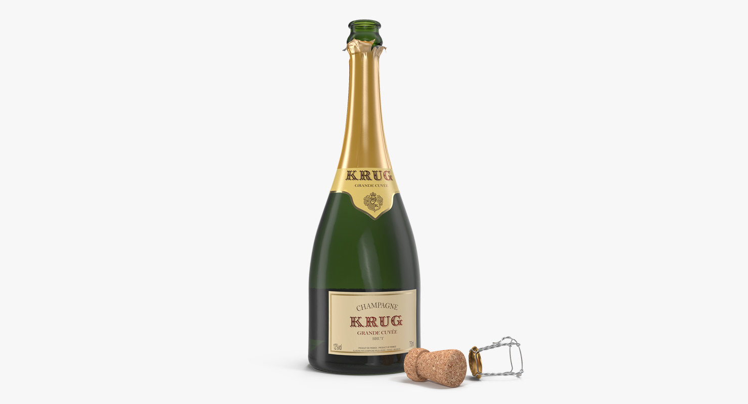 3D champagne bottle krug opened model