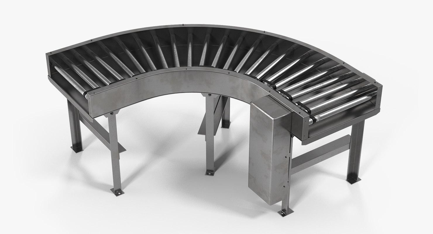 3D model curved belt drive roller conveyor