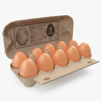 eggs open carton package 3D