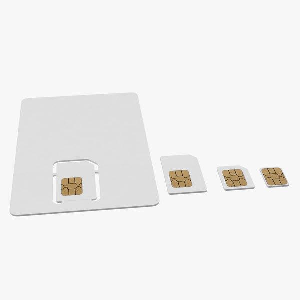 different sizes sim cards 3D model