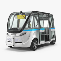 Driverless Minibus Electric Generic Rigged