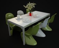 Dinning Table and Chairs White And Green PVCSet