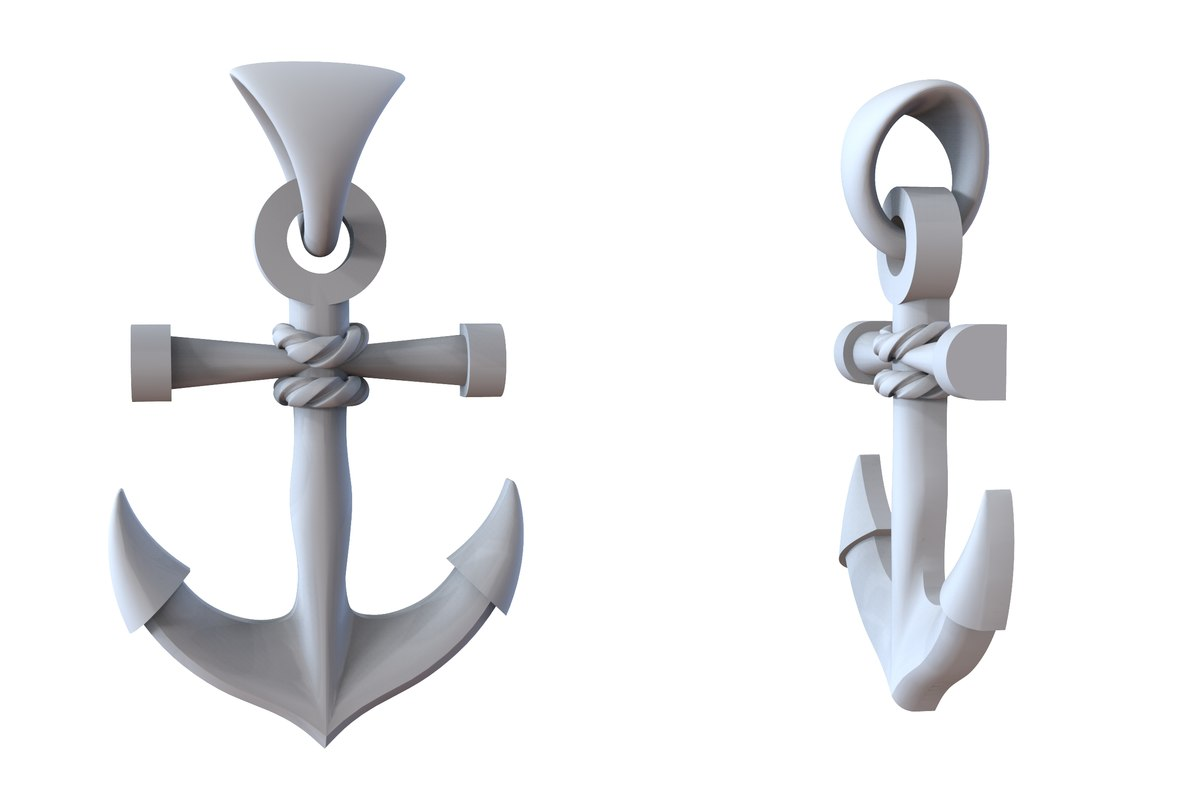 3D model jewelry gold anchor pendant