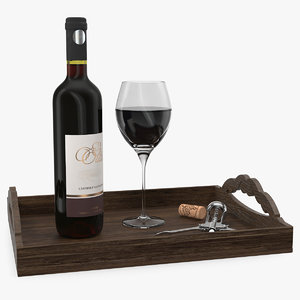3D model wine bottle corkscrew wooden