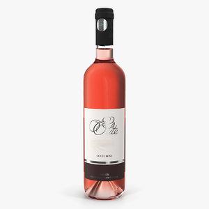 3D rose wine bottle model