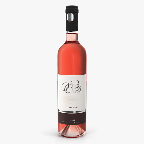 3D rose wine bottle model