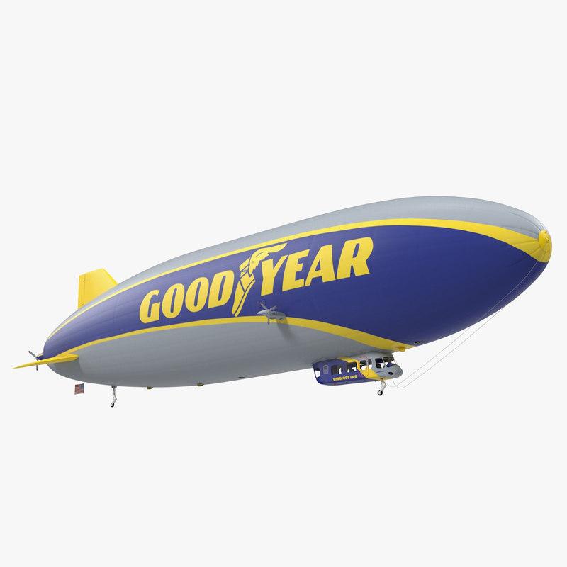 goodyear blimp airship rigged 3D model