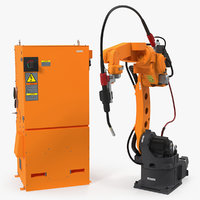 Generic Welding Robot with Power Supply Rigged 3D Model