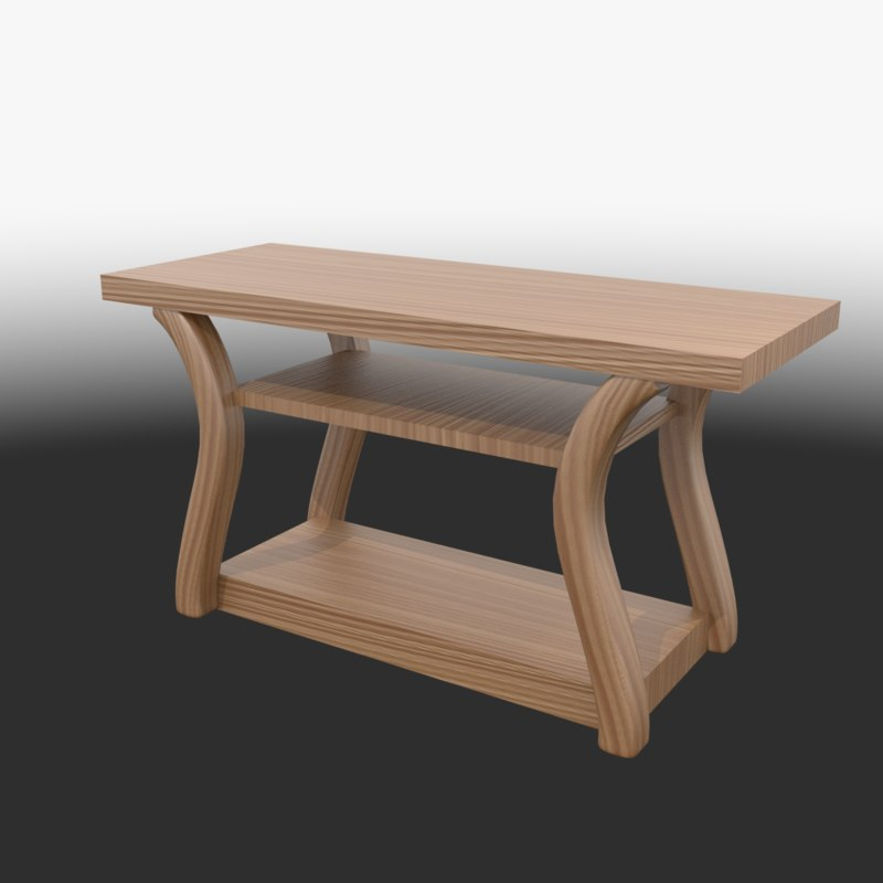 modern accent wooden table 3D model