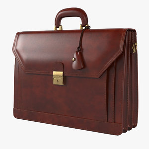 3D ponza grain leather briefcase model