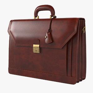 3D ponza grain leather briefcase model