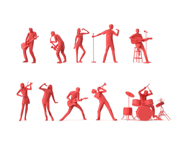 3D model people music