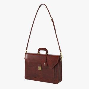 3D ponza grain leather briefcase